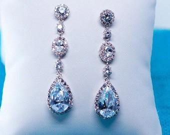 Pearl Drop Earrings, Wedding Earrings, Swarovski Pearl Earrings, CZ Earrings, Bridal Jewelry, Bridesmaid Earrings, Dangly Earrings