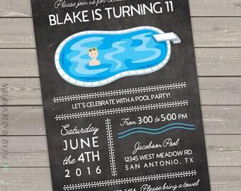 pool party birthday invitations for boys, pool party invitations, pool birthday, swim party, swimming party, digital chalkboard invites