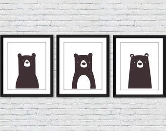 Bear Print, black bear print, bear nursery print, black and white, kids wall decor, nursery decor, monochrome nursery decor, bear poster