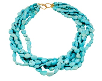 Authentic Sleeping Beauty Turquoise Multi-Rope Necklace