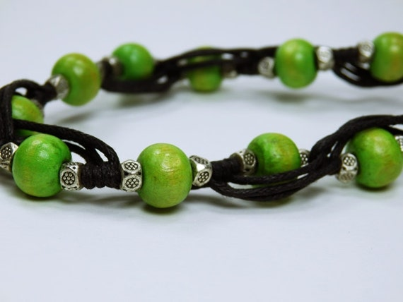 Bracelet, green wooden beads in Tibetan style with metal beads on black fabric strap jewelry green pearl beads pearl