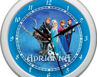 """Frozen 10"""" Wall Clock Personalized Childs Room Decor Wall Art Gift Starring Cast"""