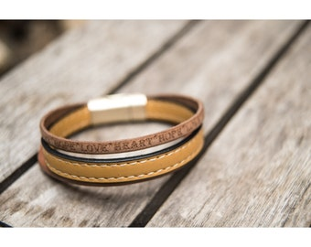 Unique Leather Bracelet, Mens Womens Leather Bracelet of Genuine Leather, Brown and Strong Yellow with both side stitch, Love Heart Hope