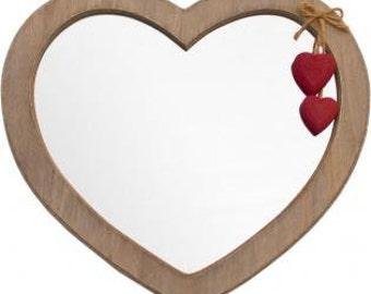 Red driftwood heart mirror