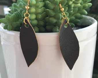 Leather tear earrings