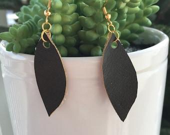 Leather tear earrings