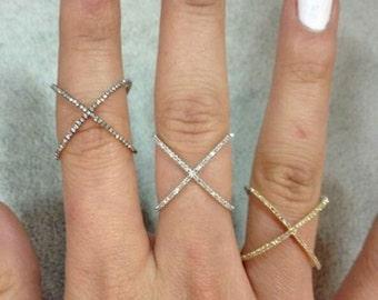 925 Sterling Silver kim kardashian inspired crisscross Studded Right hand ring