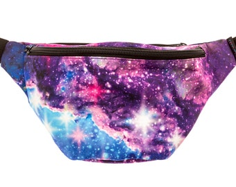 Galaxy Fanny Pack - Cute cool rave festival waist bag with Hidden Pocket