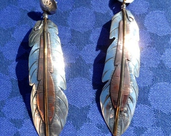 REDUCED -Sterling silver, copper and brass dangling feather earrings by Native American artist