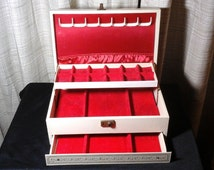 Leatherette Jewelry Box, Vintage Large Three Tier Ivory Box with Gold Embossed Exterrior and Red Satin and Red Velvet Interrior