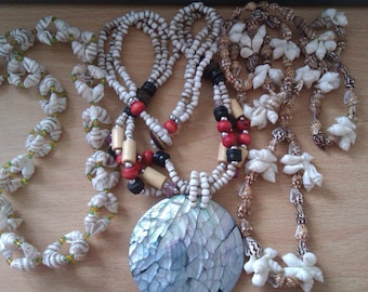3 vintage shell necklaces