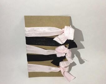 Pink and Black No Crease Elastic Hair Ties