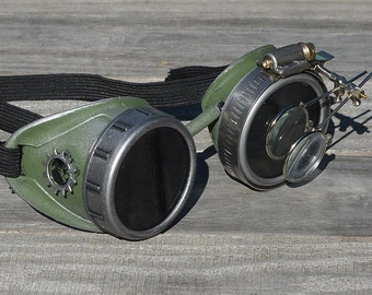 Steampunk Goggles, Steampunk, Goggles, Optic-Conductors, Scifi, Time Traveler, Airship Captain, Pirate, Magnifying Loupes, RARE