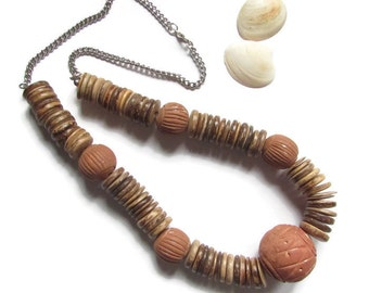 ethnic necklace, necklace in wood, African necklace, Brown necklace, necklace beads, wooden jewelry