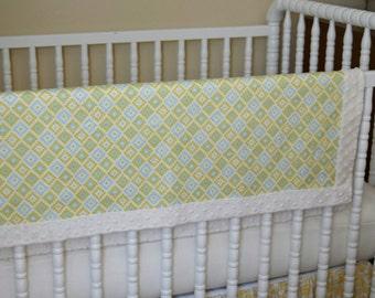 Geometric Ivory Minky Baby Blanket