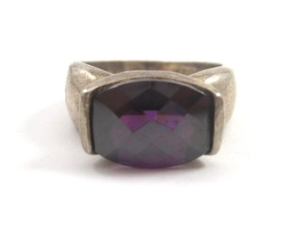 Vintage Purple Art Glass .925 Sterling Silver Ring Size 8 VINTAGE AWESOME RING