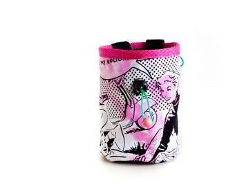 Funky Chalk Bag. Pop Art Chalk Bag Climbing. Pink Chalk Bag for Rock Climbing. Best Chalk Bag for Climbing, M Size