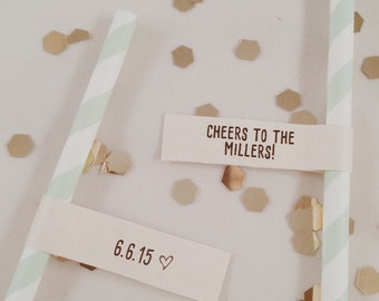 cheers wedding straw flags // printable // custom