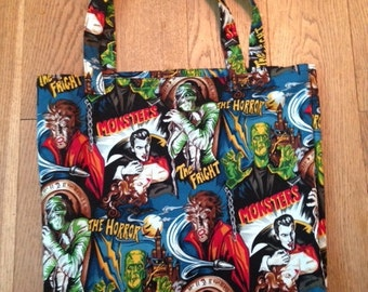Movie Monster Dracula Frankenstein Mummy tote bag shopper bag