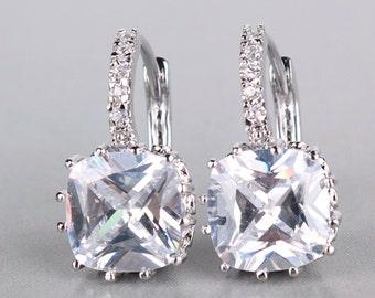 14K White Gold-Filled Dangle Earrings/ White Diamond (LAB) Earrings