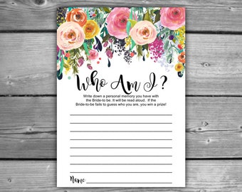 Floral Bridal Shower Who Am I Game - Printable - DIY - Instant Download - Printable Shabby Chic Bridal Shower Game - L08