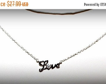 Diamond Accent Love Script Pendant with CZ
