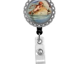 Mermaid Photo Glass/ Bottle Cap Retractable ID Badge Reel, Nurse Badge Reel
