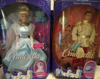 VINTAGE Cinderella and Prince Charming Dolls New in box, 1991.