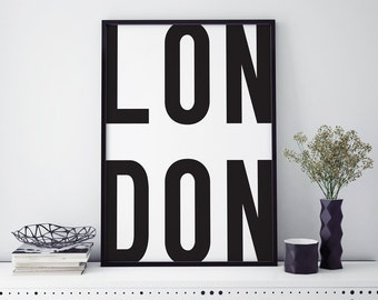 Typographic 'London' home decor print