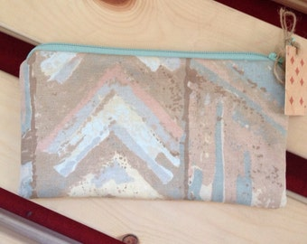 """Large Coin Purse. Made From Vintage Fabric. Mint Green and Blue Chevron Print. Upcycled, Recycled, Repurposed. 6.5""""x3.5"""".Fully Lined"""