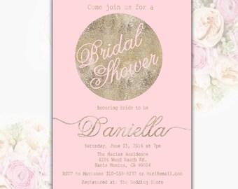 Pink Bridal Shower Invitation Gold Foil Bridal Shower Party Invite White Bridal Shower Printable Invitation Printable File Digital File T6