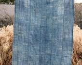 vintage large fringed African indigo mud cloth