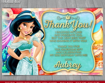 Princess Jasmine thank you card - Disney Aladdin Princess Jasmine Birthday Greeting Printed or Printable Card - Disney Aladdin