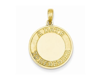 14k Yellow Gold Polished Faceted A Date To Remember Disc Charm