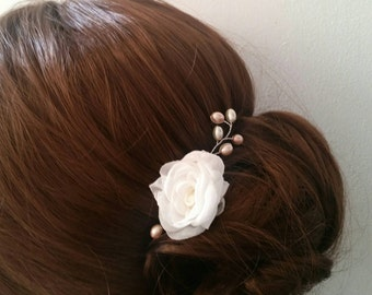 Bridal hair pin ivory rose flower hairpiece bridal or bridesmaid hair accessory