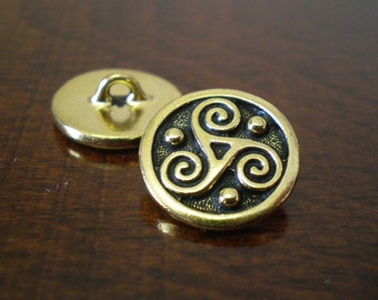 "3 - TierraCast Triskele Metal Buttons with Shank 3/4"" (19mm) Antique Gold Color"