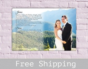 Wedding Gift - Wedding vows canvas - First Song Lyrics - Anniversary Gift - Wedding Photo - Custom Canvas Print - Free Shipping