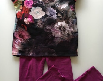 Top and matching leggings in the beautiful blossom fabric. Organic cotton