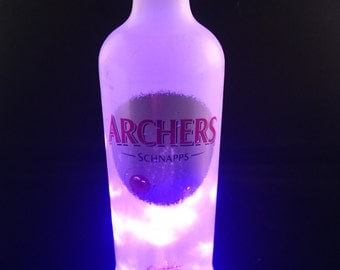 Upcycled Battery operated led fairy lights bottle lamp