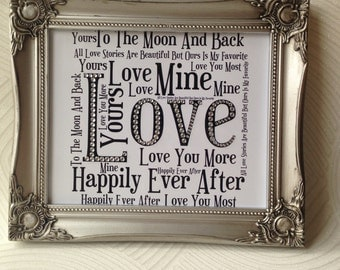 Valentines gift, anniversary gift, gift for him, gift for her, sparkly, word art