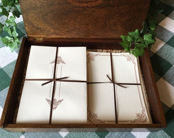 Stationery Set in Finished Vintage Wooden Cigar Box, 10 Notecards, 10 Pieces of Stationery, 20 envelopes