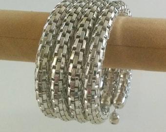 Silver Spiral Metallic 4 layer Bracelet
