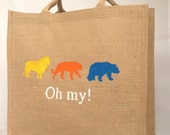 Lions, tigers & bears! Oh my! reusable shopping bag-  Large. Hand painted jute carrier bag. Burlap, hessian wizard of Oz gift bag,