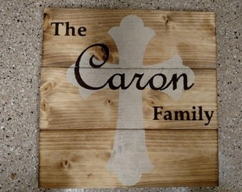 Personalized Cross Wood Sign