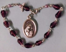 Rosary Bracelet w Angel & Amethyst Purple Tear Drop Glass , Mother of Sorrows Medal, Faux Pearls