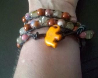 WB11 triple wraparound gemstone bracelet