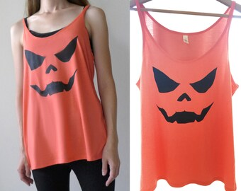 Womens Halloween PUMPKIN Jack o lantern slouchy tank top