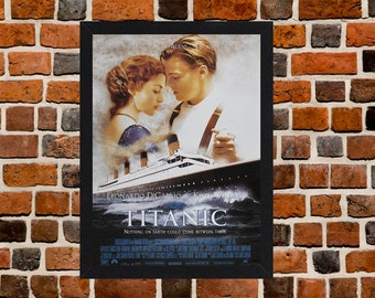 Framed Titanic Leonardo DiCaprio & Kate Winslet Movie / Film Poster A3 Size Mounted In Black Or White Frame (Version-1)