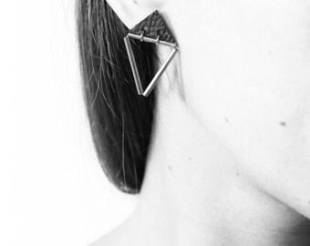 Triangle Stud Earrings • Geormetric Earrings •  Brass Tube Triangle Earrings • Geometric Earrings • Minimalist Earrings • Black Earrings •