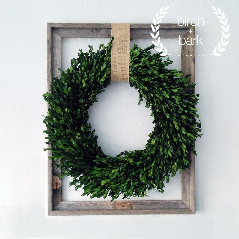 Home decor preserved boxwood wreath wood frame wreath Decorative home